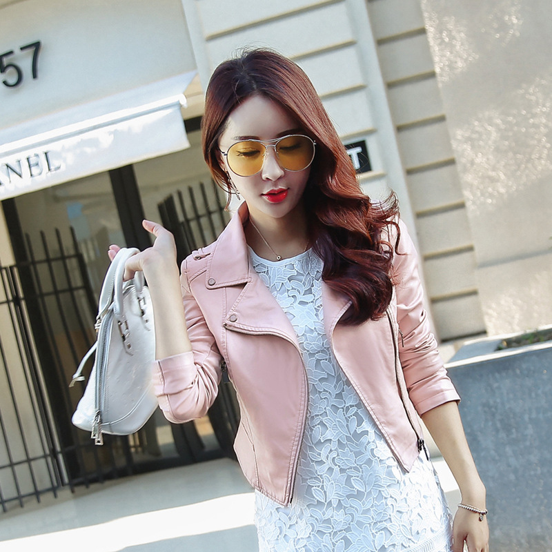 Slim Short Jacket Women Clothers PU Leather Coats Cool Street Casual Zipper Jackets Black , Pink