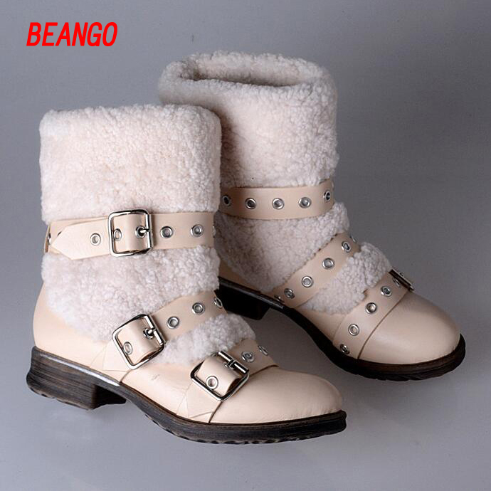 BEANGO European 2017 New arrive fur winte boots genuine leather boots women flat platform shoes buckle warm Mid calf boots wool zippers double buckle platform mid calf boots
