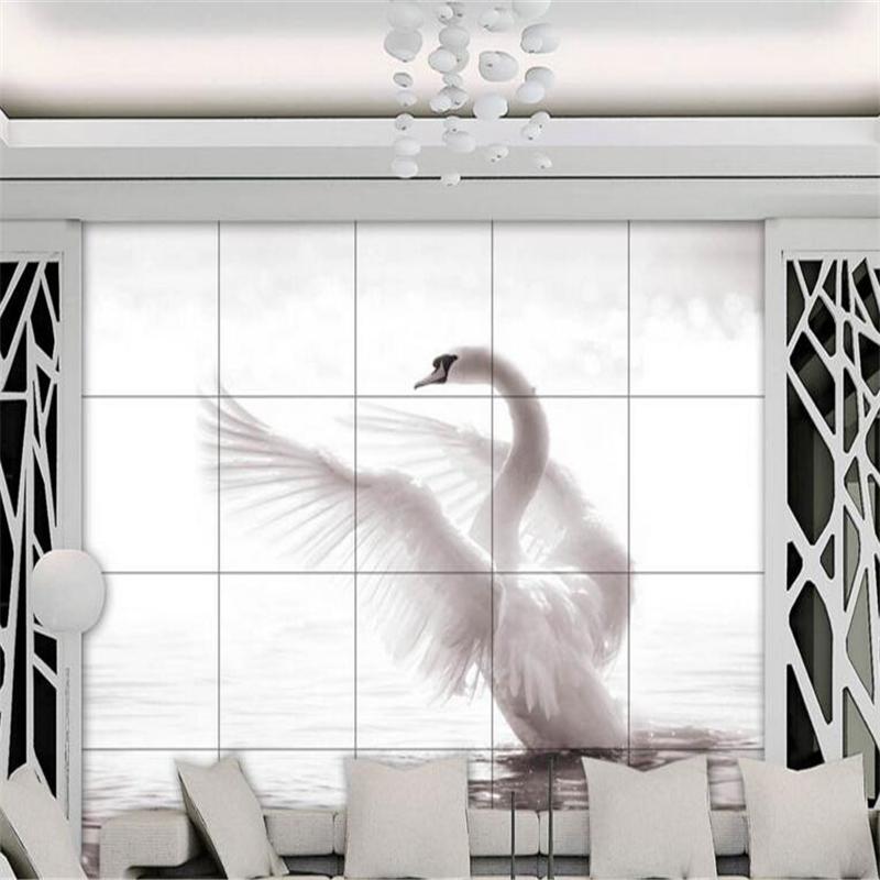 Beibehang Wallpaper Kustom Furniture Dekoratif Wallpaper Estetika Swan Lake 3D Living Room Latar Belakang Wallpaper Kustomisasi