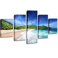 5 Pieces Framed Landscape Canvas Painting Seascape in the Sunset Wall Picture for Living Room Natural Scenery Print Art Posters