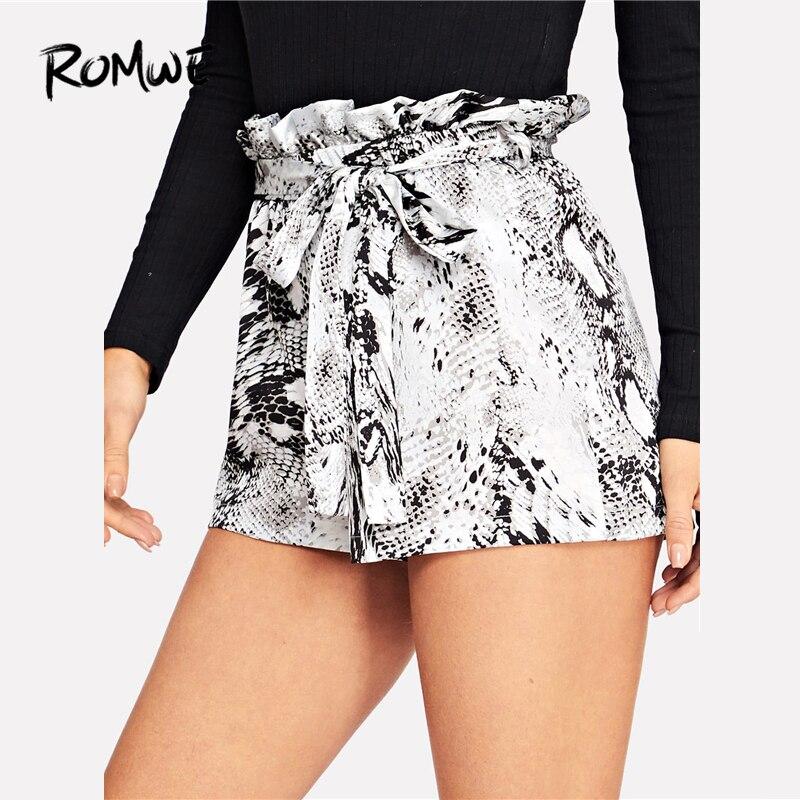 ROMWE Paperbag Waist Snakeskin Print   Shorts   With Belt Glamorous Women Drawstring Waist   Shorts   2019 Summer High Waist   Shorts