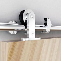 DIYHD 5ft-8ft Acero inoxidable corredizo Puerta de Granero Hardware seguridad Pin montaje superior rodillo gabinete corredera puerta de madera pista