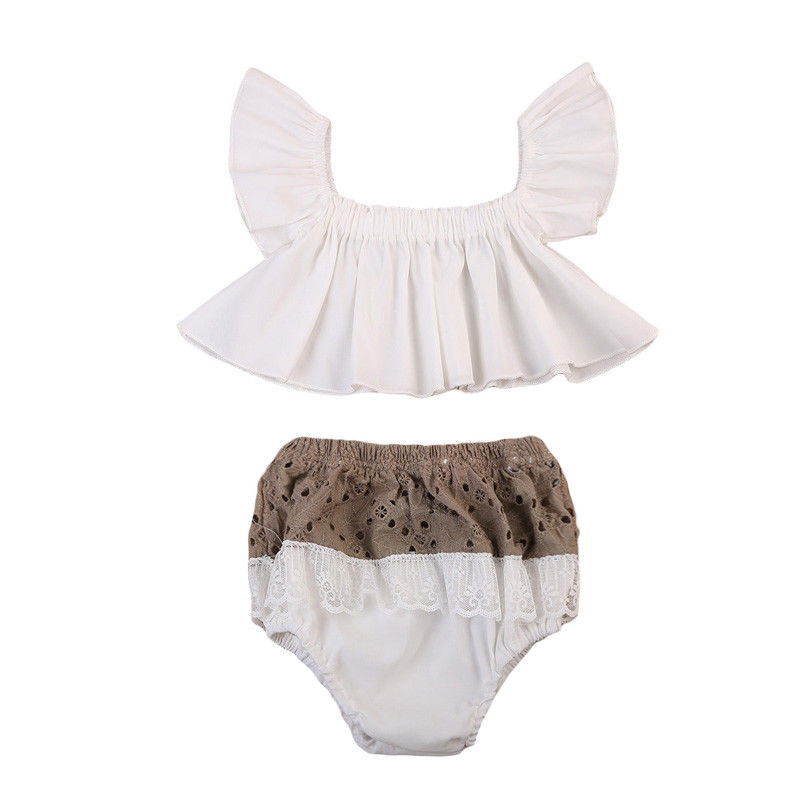 Hot Sale New Newborn Baby Girls Fashion Cute Clothes Off Shoulder Crop Frills Tops Hollow Lace Shorts Bottoms 2pcs Sweet Set