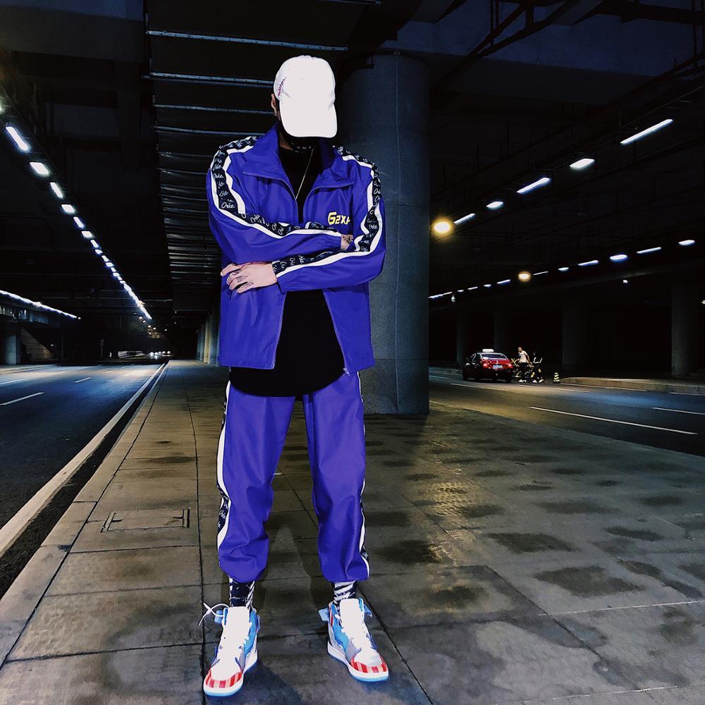 New Spring Autumn Brand Zipper Tracksuits Men Harajuku Fashional Pattern Letters Sportswear  Sets Jacket+Pants Casual Streetwear