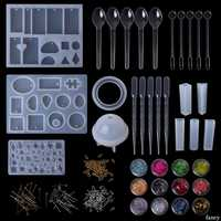 1 Set Epoxy Resin Kit Jewelry Casting Tools DIY Handmade Crafts Gifts Necklace Bangle Making Findings Silicone Mold Spoon