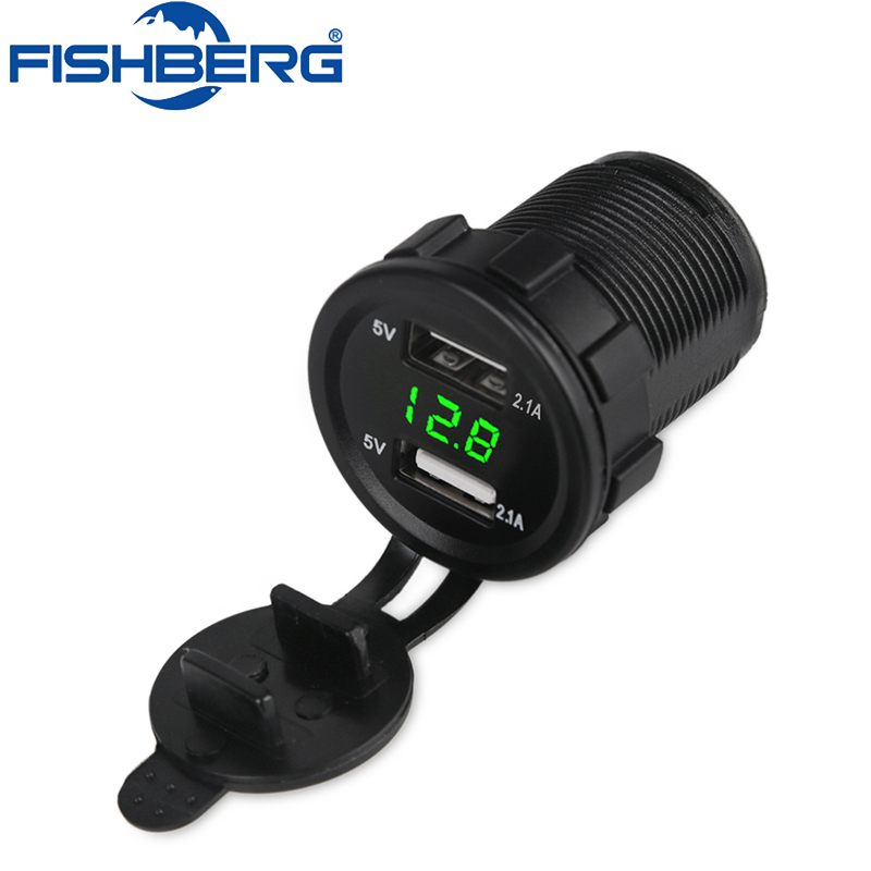 5v 2.1A 12V Dual USB Car Charger Voltmeter Voltage Meter Led USB Auto Charger Power Adapter Socket with voltage Boat Motorcycle
