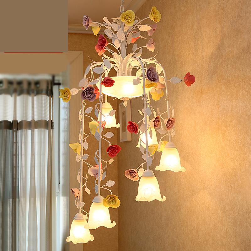 Living Room Big pendant light Creative Korean Style Garden Iron Flower Lights Villa Lobby Staircase Led ceiling lamp chinese style simple led long block crystal villa staircase pendant lamp revolving double staircase living room lighting pendant