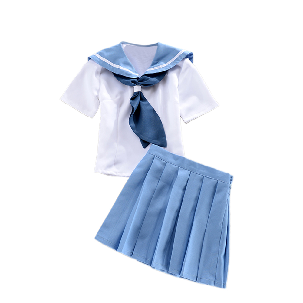 Brdwn KILL La KILL girls Mako Mankanshoku Cosplay Costume School Uniforms Sailor Suits top skirt bowtie in Girls Costumes from Novelty Special Use