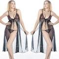 Узелок черное белье Babydoll вуаль ночная сорочка ночная рубашка платье M-XL 8 - 14