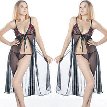 Lace Up Black Lingerie Babydoll Dress Voile Nightie Nightgown Gown M XL 8 14