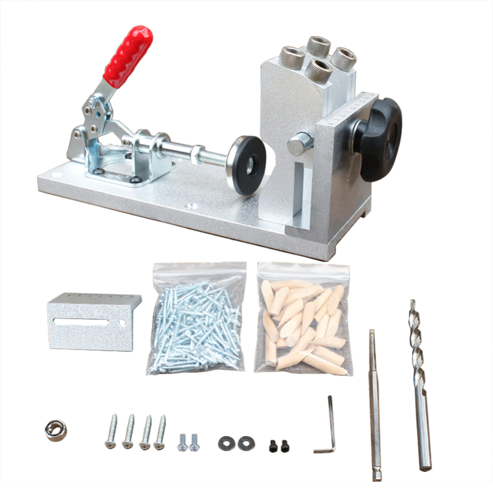 Professional Aluminum Alloy Oblique Hole Drilling Locator Wood Pin Puncher Woodworking Manual Fixture Tool Woodworking Machinery Parts     - title=