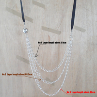 2017 factory whole-sale trendy girls multi(3R)-layer long chains statement dress necklace,fine channel ribbon necklace for women