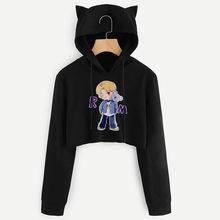 CDJLFH BTS Album Kpop Long Sleeve Cropped Hoodies Autumn Sweatshirt Women Cat Hooded Pullover Crop Tops Winter Sweatshirt