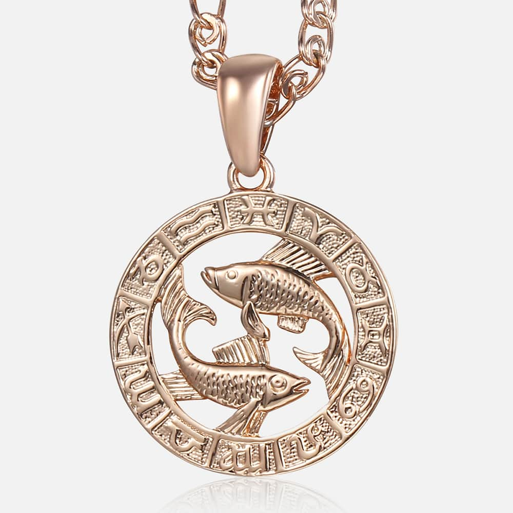 Hot Pisces Zodiac Sign Necklaces 585 Rose Gold Pendant Necklace Male Jewelry Gifts Gp286 Pendant Necklaces Aliexpress