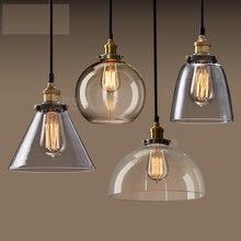 Lámpara colgante de cabeza única de cristal ámbar Retro americano E27 bombilla para decoración de cocina sala de estar DIY Vintage Loft iluminación LED