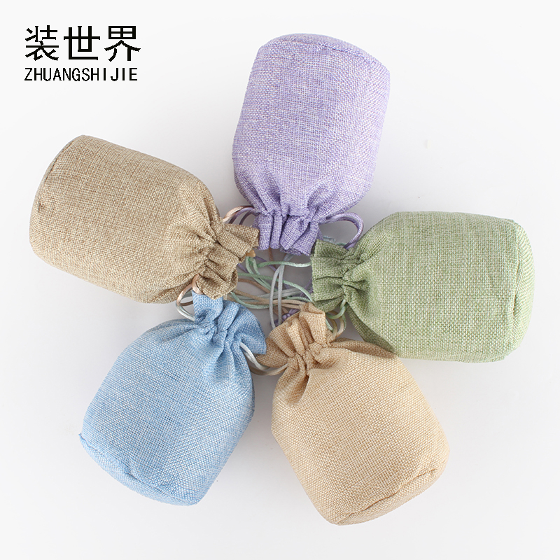 16x24cm High Class Linen Drawstring Pouch Jewelry Bag Custom Logo Jute Pouch Burlap Party Candy Gift Round Bottom Packaging Bag