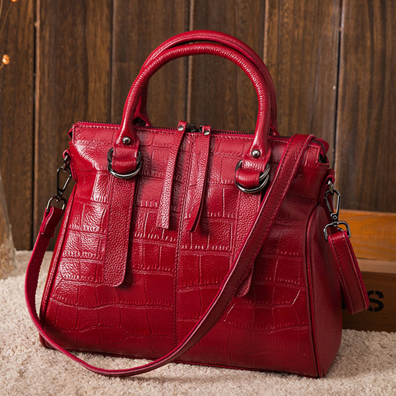 New fashion soft real genuine leather bag tassel women handbag luxury crocodile pattern lady shoulder messenger bag casual tote