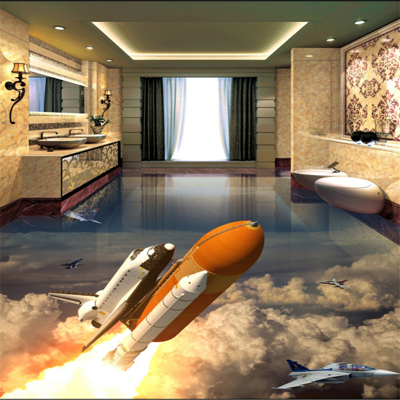 Beibehang Large Custom Flooring Bathroom Living Room Rocket Launched Earth  3D Bathroom Living Room Floor Tile