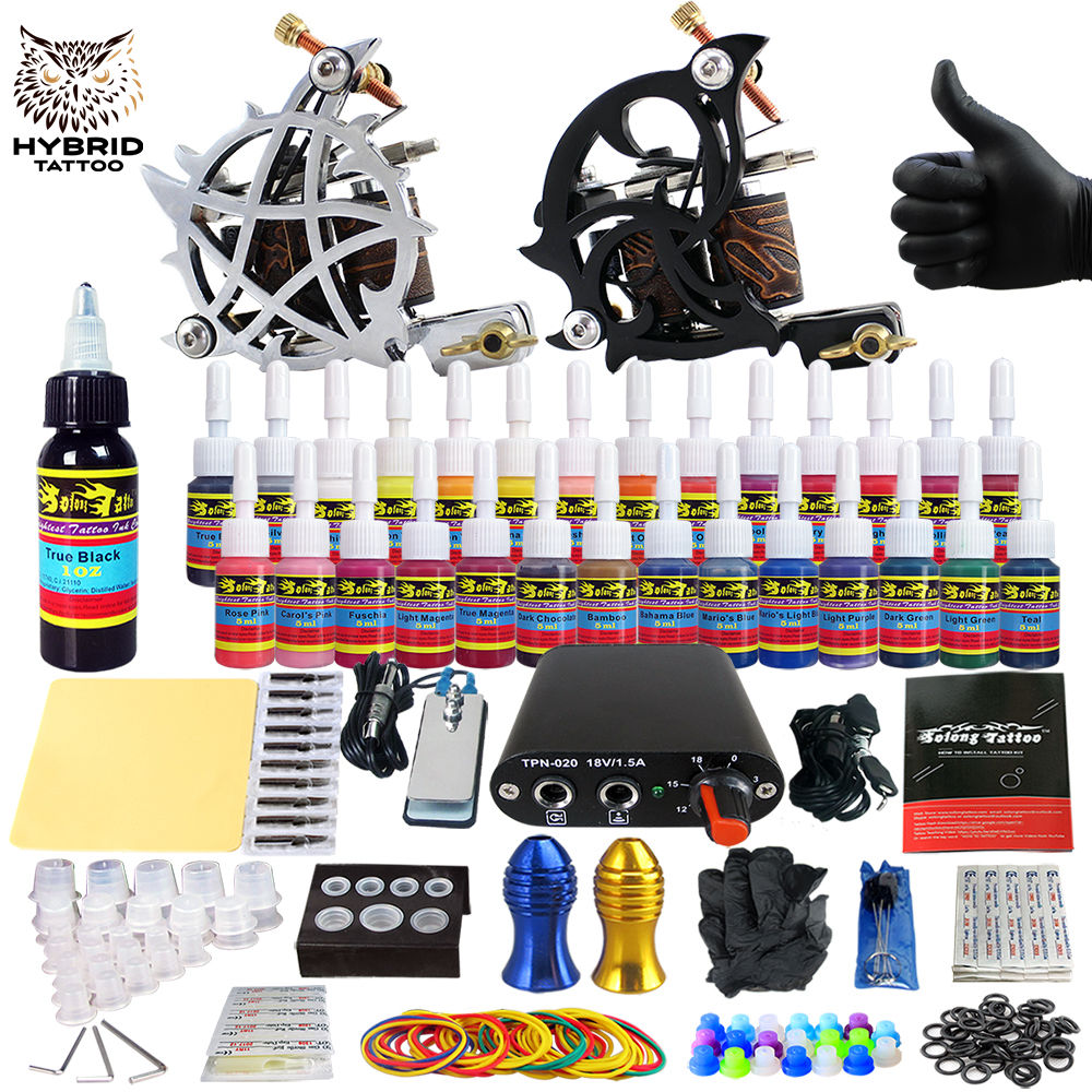 Hybrid Complete Kit For Tattoo Liner and Shader Beginner Power Supply Foot Pedal Grips Needles Ink Set Tattoo Body&Art TK204-13Hybrid Complete Kit For Tattoo Liner and Shader Beginner Power Supply Foot Pedal Grips Needles Ink Set Tattoo Body&Art TK204-13