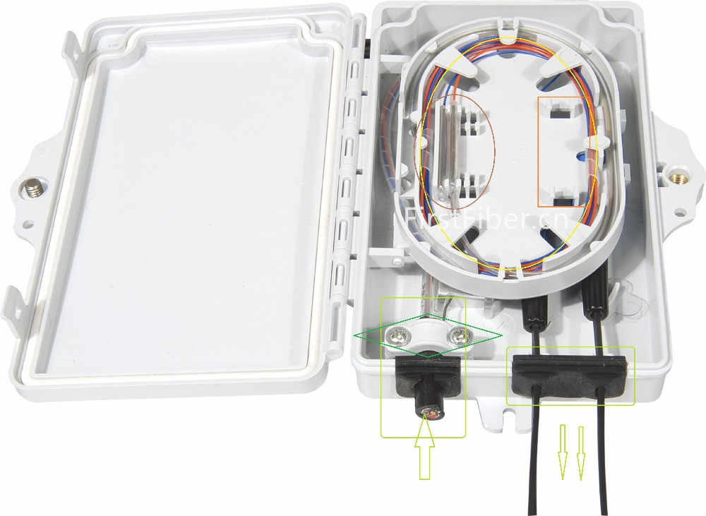 FTTH 2 núcleos caja de terminación de fibra 2 puertos 2 canales toma para fibra óptica divisor caja interior exterior ODN