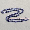 Simple Solo Hilo de Moda Estilo Largo Natural Azul Oscuro Barroco de Agua Dulce Collar de Perlas de La Venta Caliente