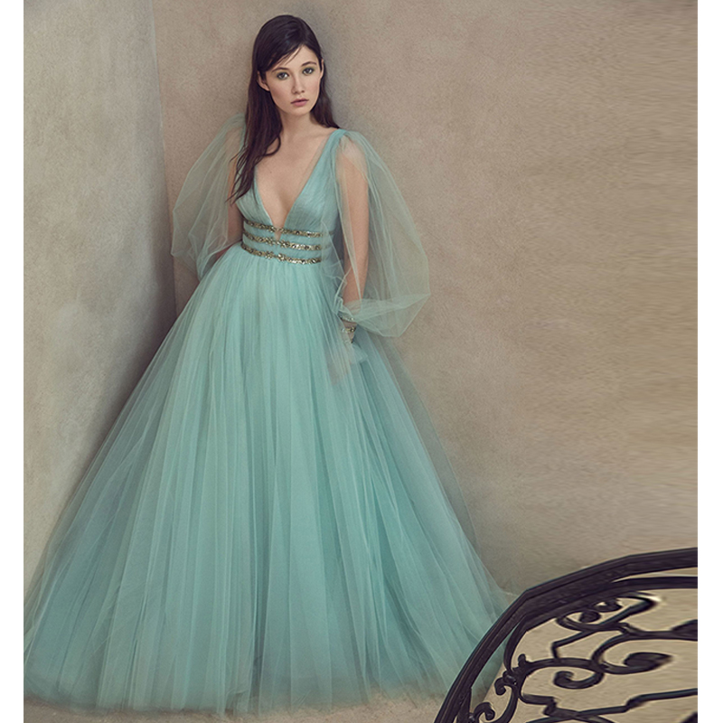 Verngo 2019 Fashion Evening Dress Tulle Evening Gown Elegant Formal Dress Custom Made Robe De Soiree Evening Dresses Long in Evening Dresses from Weddings Events