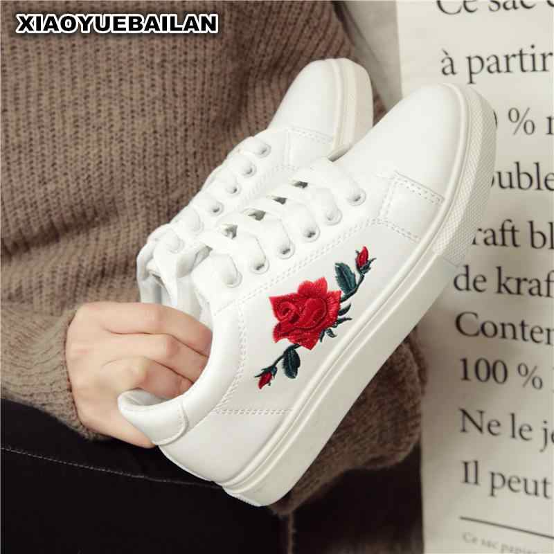 White Shoes Embroidered Flowers Fall