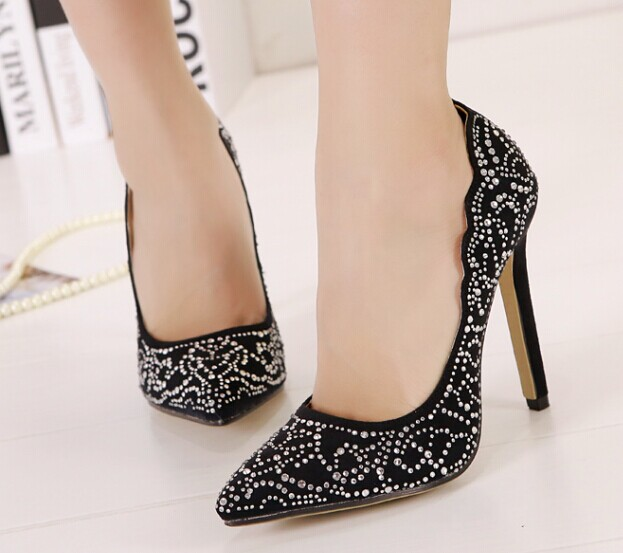 8189f241a99f Stylish rhinestones decoration thin heel pointed toe heels elegant spring  women shoes sexy black heels size 35 36 37 38 39 40