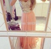 Luxus Strass Abendkleid Bodenlangen Abendkleider mit Sexy Seite Split Liebsten Formal Dress