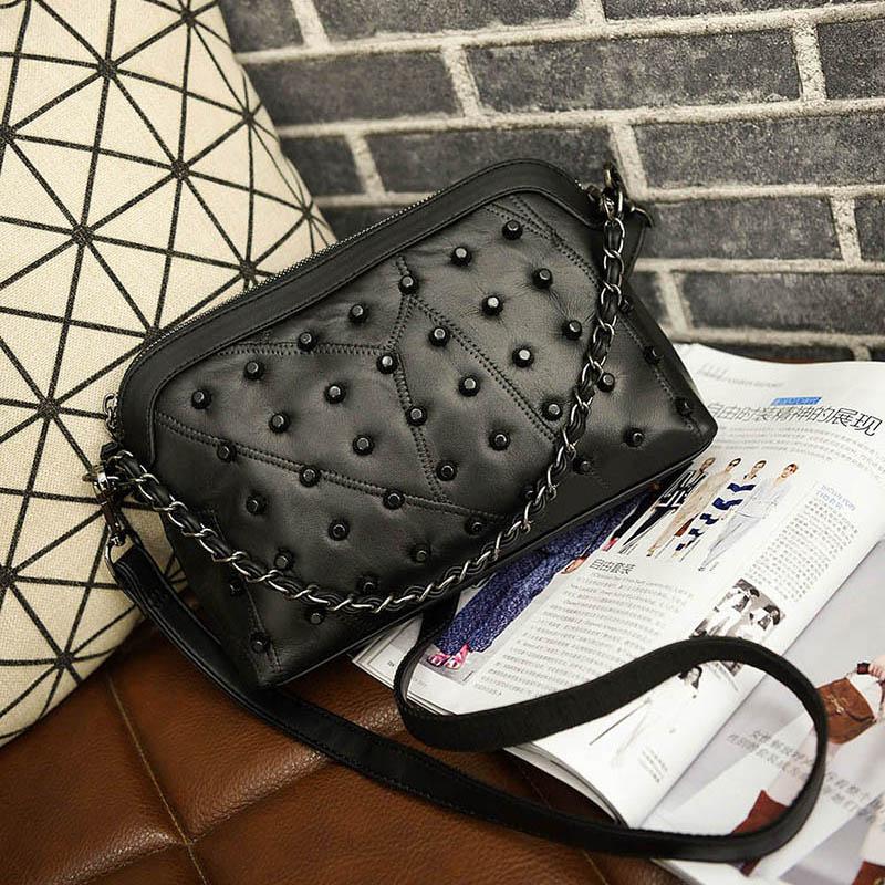 ФОТО Genuine leather sheepskin women's shell bag small rivet patchwork messenger bag brief all-match women's chain bag