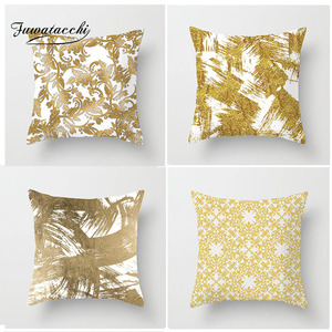 Fuwatacchi White Gold  Painting Cushion Cover Striped Geometric Pillow Cover Sofa Chair Seat Home Decoration Accessories