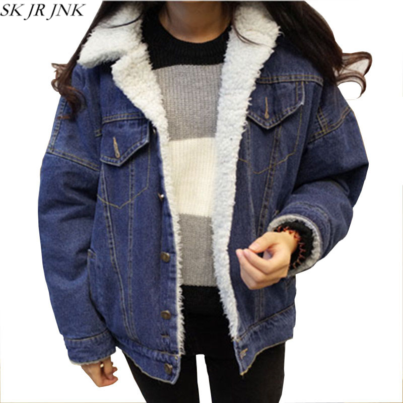 Woman Winter Denim Woolen Coat Thick Jean Lambs