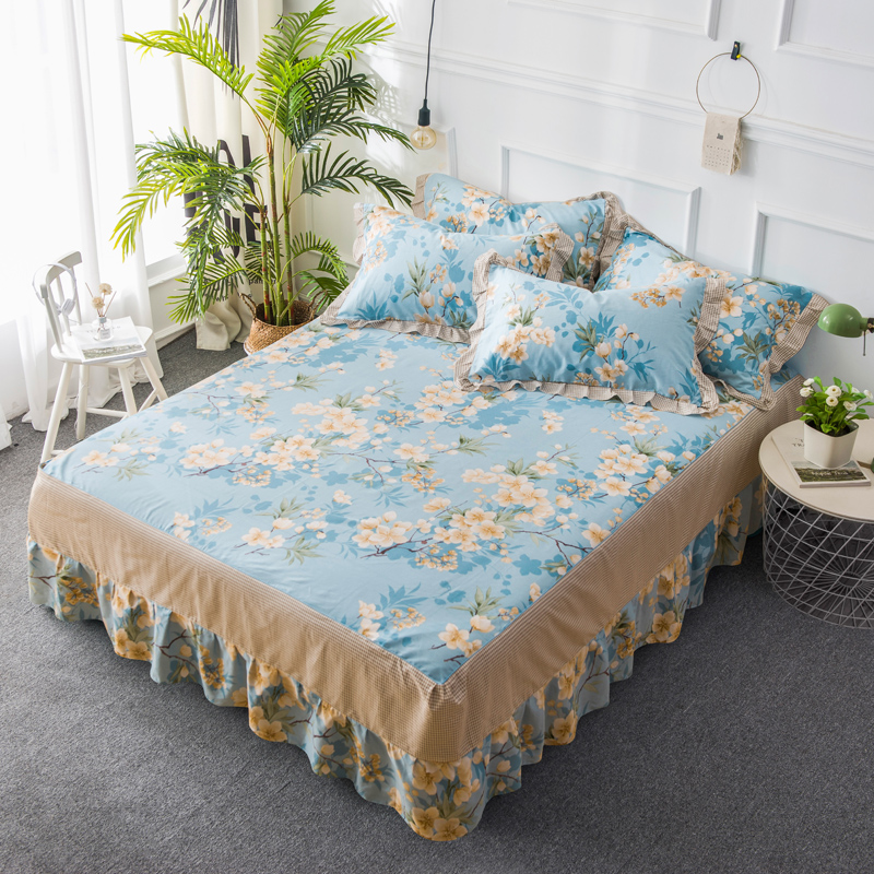 Floral Printing Bed Skirt Single Double American