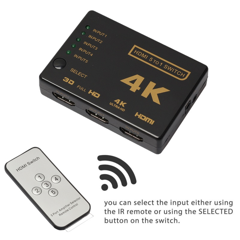 1Set Mini HDMI Switcher 3D 1080p 5 Port 4K HDMI Switch Selector Splitter With Hub IR Remote For HDTV DVD NEW  3 port 1080p video hdmi switch switcher splitter for hdtv ps3 dvd ir remote un2f 100% new high quality