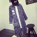 EXO KPOP 2017 primavera outono casaco Faculdade das mulheres dos homens de Grade Letras impressas camisa Longa seção de algodão Solto Dividir manga Comprida casaco