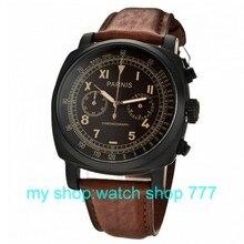 45mm nueva moda PARNIS PVD case Negro dial reloj de los hombres movimiento de cuarzo Japonés 0258aaa
