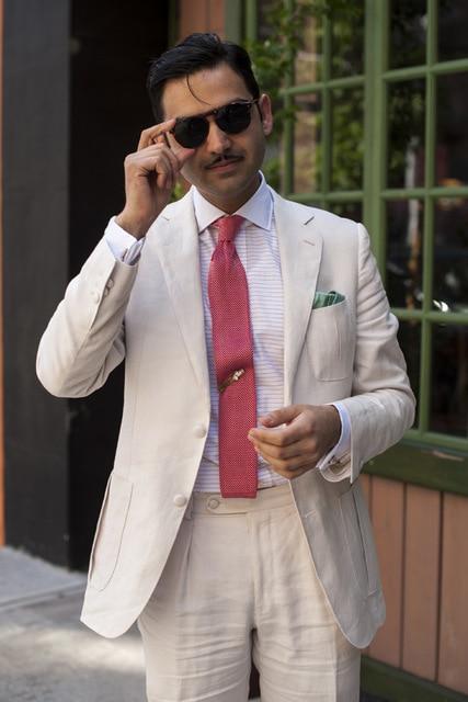 853 White Linen Men Suit For Wedding 2 Pieces(Jacket+Pants) Slim Fit Latest Coat Pant Designs Blazer Custom Made Clothes Men