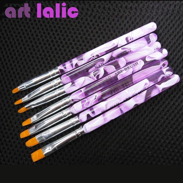 Hot Sale Professional 7 Sizes UV Gel Painting Draw Brush set New Fashion Nail Art Brush Free Shipping 1set /lot