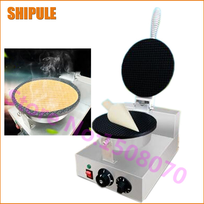 Free Shipping Electric Waffle Maker Commercial Ice Cream Cone Machine Cone Egg Roll Maker For Sale chinese single round pan rolled ice cream machine fried ice cream roll machine with 6 barrels