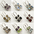 Silver Natural Gem Stones Earrings : Amethyst, Moonstone, Peridot, Topas etc.