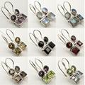 Silver Natural Gem Stones Earrings : Amethyst, Moonstone, Peridot, Topas etc.