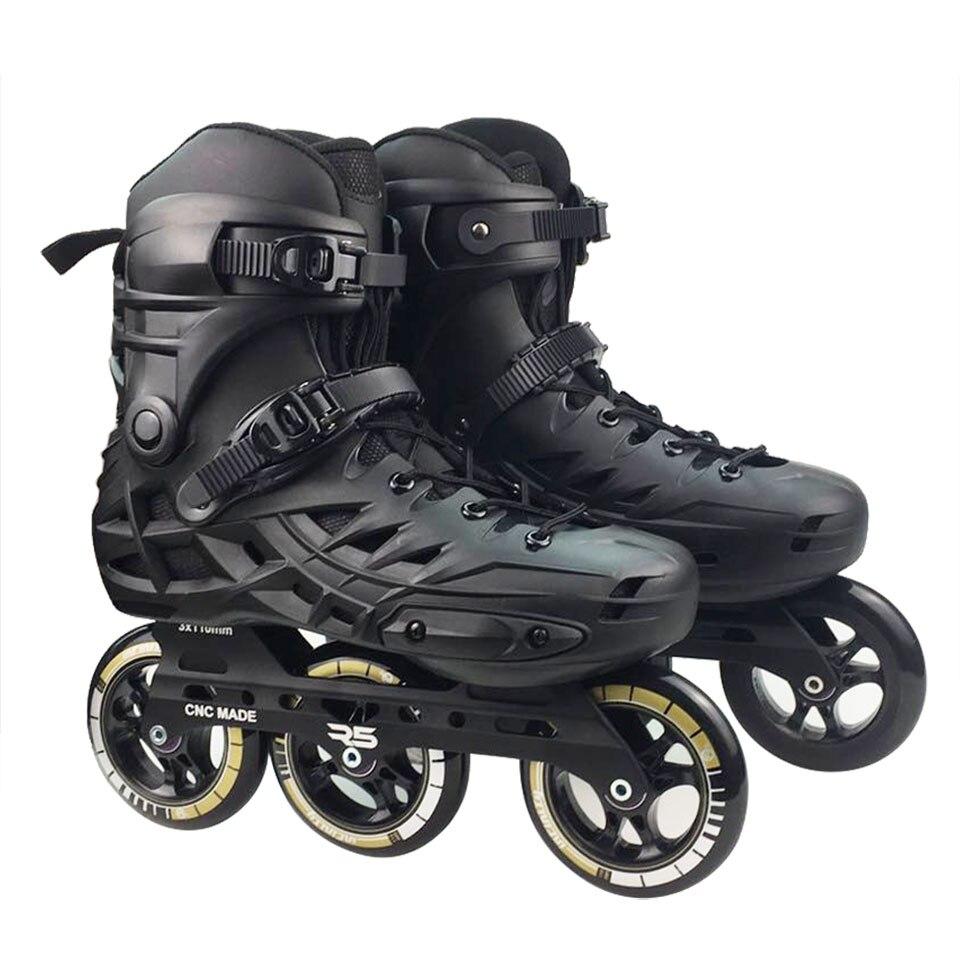 JK Original RS6 Patins de vitesse en ligne professionnels adultes enfants chaussures de patinage à roulettes 3*110mm roues taille 35-46 Patins de patinage gratuits