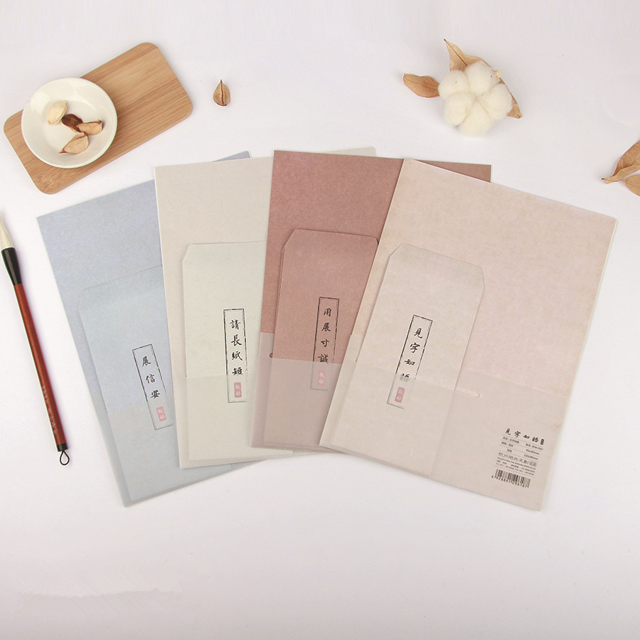9Pcs/Set 3 Envelopes & 6 Sheets Letter Paper Solid Color Simple Series Envelope For Gift Stationery