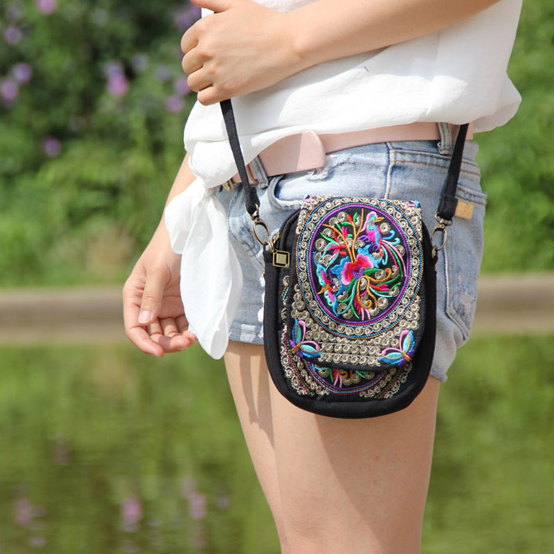 Boho Ethnic Crossbody Bag Vintage Exotic Embroidered Canvas Shoulder Messenger Bag Handmade Multicolor Small Coins Bags 2018 New free shipping vintage hmong tribal ethnic thai indian boho shoulder bag message bag pu leather handmade embroidery tapestry 1018