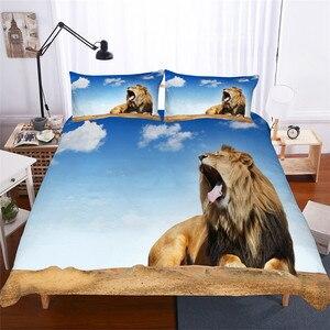 Image 1 - ชุดเครื่องนอน 3D พิมพ์ผ้านวมคลุมเตียงชุด Lion Home สิ่งทอสำหรับผู้ใหญ่เหมือนจริงผ้าปูกับปลอกหมอน # SZ04
