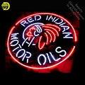 Неоновая вывеска для красных индийских моторных масел  вывеска из настоящего стекла  пивной бар  пивной дисплей для ресторана  уличные свет...