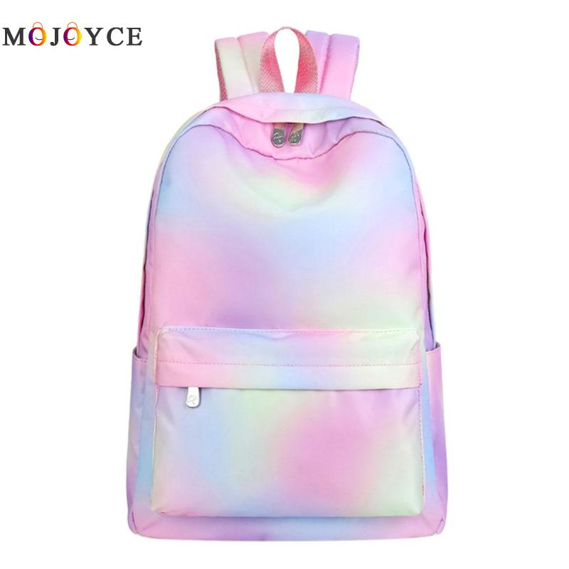 Fashion Gradient Panelled Women Backpack Portable Waterproof Girls School Backpack Big Capacity Travel Bag Mochila Feminina school bag travelling casual backpack 9295 character print graphic gradient color