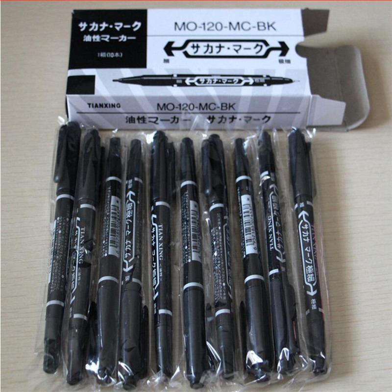 Newest 10pcs Dual-Tip Black Tattoo Skin Marker Piercing Marking Pen Tattoo Supply For Permanent Makeup