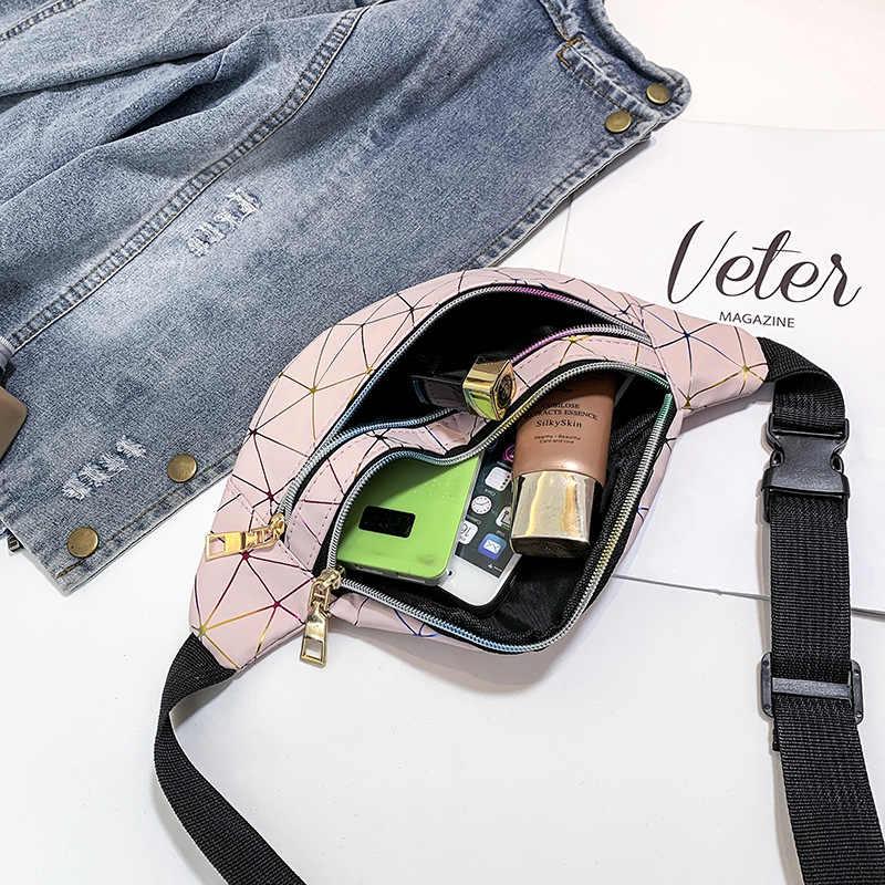 Holograficzne saszetki na pas damskie różowe srebrne piterek kobiece saszetka na pasek czarne geometryczne etui na talię laserowe etui na telefon