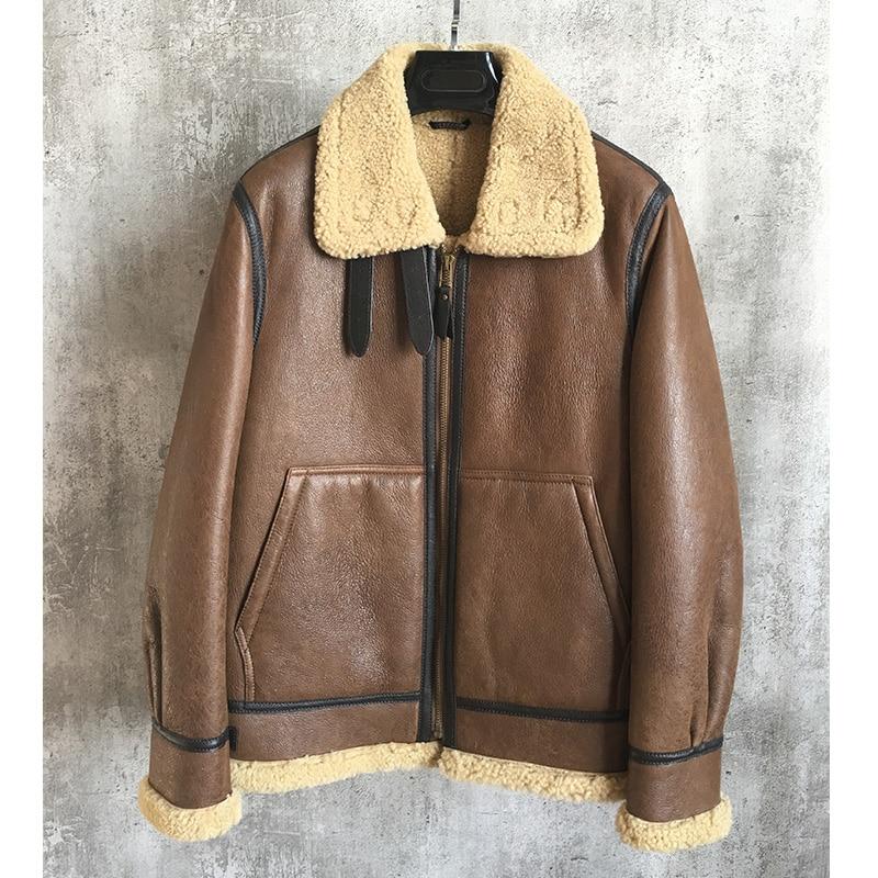 XL men's genuine real natural sheepskin lambskin leather shearing coat B3 bomber pilot jacket for male brown wool cashmere liner